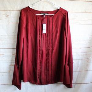 WHBM Wine Long Sleeve Blouse Shirt 16 Plus Size